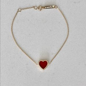 18K Solid  Gold Heart Bracelet